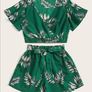 Leaf Print Surplice Front Top and Belted Shorts